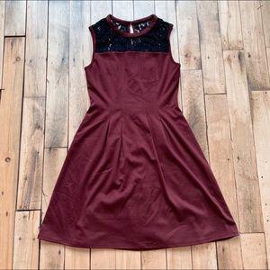 Kut from the Kloth Laurinda Dress Burgundy